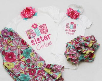 Big Sister Shirt and Matching Ruffle Pants and Coordinating Little Sister Bodysuit with Ruffle Diaper Cover- With Coordinating Hairbow