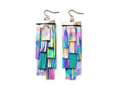 Holographic Leather Earrings, Fringe Earrings, Geometric Earrings, Silver Teal Tassel Earrings, Irridescent Rainbow Statement Earrings