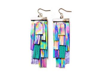 Holographic Leather Earrings, Fringe Earrings, Geometric Earrings, Silver Teal Tassel Earrings, Irridescent Rainbow Statement Earrings