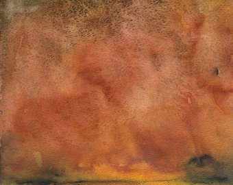 Autumn Abstract Watercolor Painting - 11 x 14 - Fall Colors - Landscape