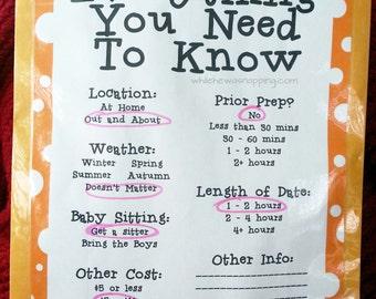 12-Month, Date Night Kit Printables