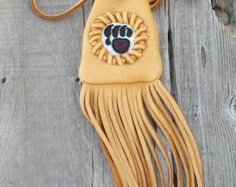 Fringed talisman bag , Beaded bear  totem , Fringed medicine bag , Amulet bag