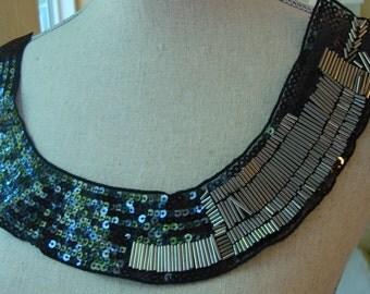 Neckline Applique Embellishment Necklace Metal Beads Silver Color Metallic Sequins Beads on Black Tulle S116