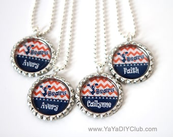 Orange Blue Chevron cheerleading necklace, cheerleading gift Cheerleader jewelry Personalized necklace Bottle cap necklace Custom Name Color