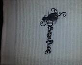 Edgar Allan Poe's Nevermore Raven, gothic design Embroidered White Kitchen or Bar Towel