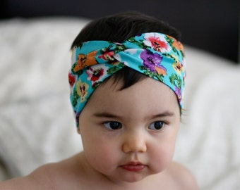 Twisted Turban headband Flower print