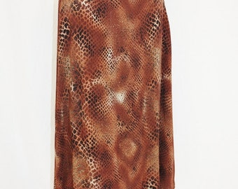 1990s Snakeskin Skirt Print Large Sag Harbor Vintage REtro 90s Rayon Browns Exotic REptile
