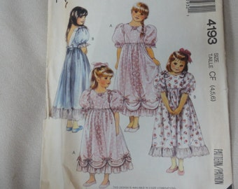 1989 Girls' Gown, Flower Girl Dress, Party Dress, Puffy Sleeves & Flowers-- Vintage McCall's Patterns 4193- Sizes 4-6 Breast 23-25