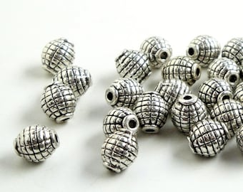 Silver Spacers, Silver Barrel Spacer Drilled Beads 6mmx8mm, 25 Pcs, Silver Pewter Oval Metal Jewelry Findings