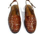 1980's Slingback Perforated Leather Low Heel Flats by Trotters, Size 8 1/2 M, Excellent Condition