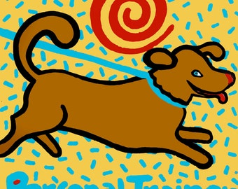 "Art print, Brown Dog , Personal Trainer 8.5"" x 11"" copyright HillaryVermont"