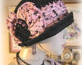 Antique Style 1920s Gatsby French Flapper Art Deco Cloche - Black Silk Velvet - Pink Embroidered Silk - Pink Downton Style