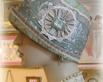 Antique Style 1920s Gatsby Flapper Downton Abbey Cloche Silk Hat - Aquamarine Silk Hand Embroidery - Jeweled Ornament - Antique Silk Trim