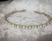 Flower Girl  Headband  Rhinestones and Pearls-Elegant Prom Headband-Bridesmaid Headband- Flower Girl Headband