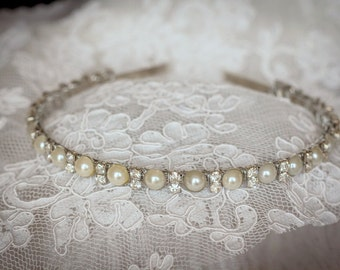 Bridal Headband  Rhinestones and Pearls  Elegant Wedding Headband-Bridesmaid Headband- Flower Girl Headband