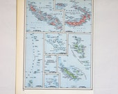 Map of the Pacific Islands - 1954 original print