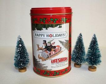 Lifesavers Christmas Tin, Holiday Keepsake, 1989, Christmas Tree,Gift Tin,Box,Canister,Candy,Sledding, Red, Holidays, FREE US Shipping