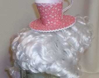 Teacup Fascinator- Pink and White Flowered