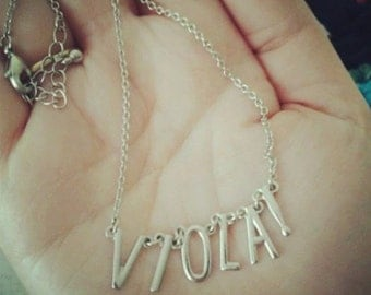 Silver-Toned Viola Letter Necklace