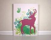 Deer Decor, Nursery Art Painting, Pink and Teal