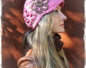 PINK Boho Slouchy Beanie crochet slouch hat FLOWER hat Brimmed hat Visor Beanie Hippie gypsy hat Pink and Brown Beanie with brim GPyoga