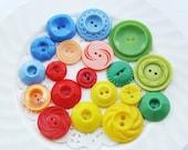 Vintage Plastic Button Mix Primary Color Rainbow Assortment Floral Textured - 19