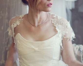 Lace Bridal shrug - Ivory embroidered tulle with beads