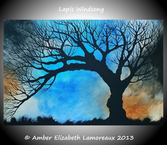 Fine Art Giclee Print of Original Painting Lapis Windsong Amber Elizabeth Lamoreaux Surreal Tree Silhouette Windy Blue Brown