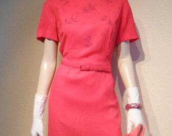 Mrs. Harris Makes a Hot Pink Splash - 1960s Hot Pink Chiffon Wiggle Dress w/Beading - 12/14