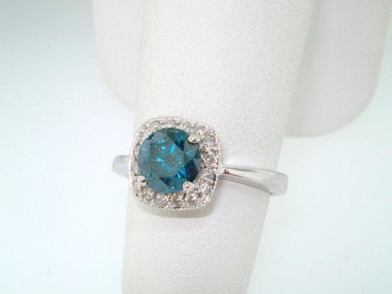Blue & White Diamonds Engagement  Ring 18K White Gold 1.23 Carat Certified HandMade Halo Ring