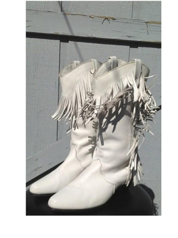 White Leather Fringe Cowboy Boots Size 7.5