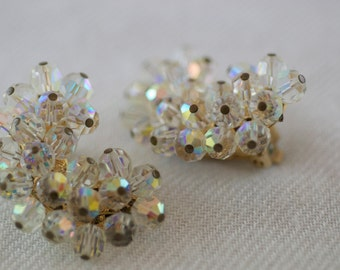 Vintage Alice Caviness Aurora Borealis Large Crescent Shaped Clip on Style Earrings  …..3944