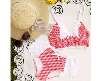 """Retro Summer Lingerie Set """"Picnic"""" Red Gingham and Lace Longline Bralette and Boyleg Panties Handmade to Order"""