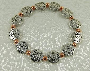 Silver and Copper Bracelet - Stretch Bracelet - Silver Bracelet - Copper Bracelet - Mixed Metal Bracelet