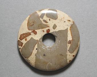 AFRICAN MAP JASPER round pendant 49mm disc donut bead