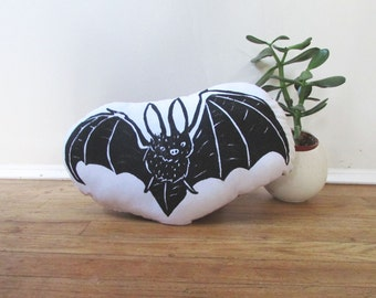Plush Bat Pillow. Hand Woodblock Printed. Pick ANY Color. Made to order.