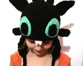 Toothless Hat Night Fury Dragon Hat Novelty Fandom Hat How to Train your Dragon Hat Cosplay Hat Crochet Handmade Cute Kawaii