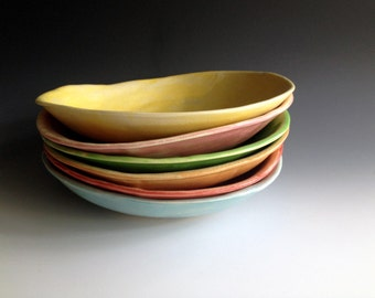 Pasta bowls, free form, organic, colorful pasta bowls, set of six,