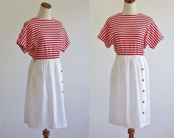 Vintage Striped Dress -- 80s Dress -- 1980s Cotton Dress -- Red and White Stripes -- White Skirt -- Small Petite