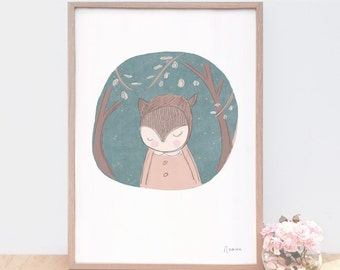 Large Art Print for Little Boys Room, Woodland Nursery Art, Boy Nursery Art, Boy Wall Art, Woodland Art Print, Bear, Green, Baby Shower Gift