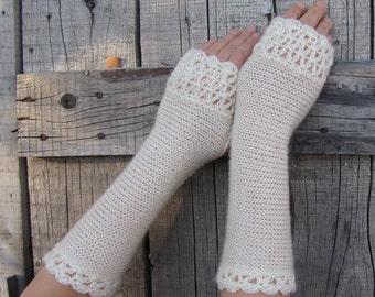 Ivory Bridal Gloves, Wedding Gloves Ivory, Long Knit Mittens, Lace Fingerless Gloves, Crochet Gloves, Long Arm Warmers, Wrist Warmers, Black