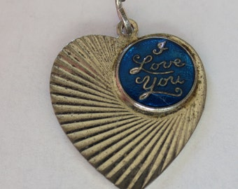I LOVE YOU Sterling Silver and Enamel Charm or Pendant