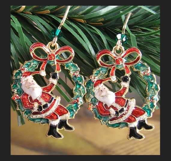 Santa Earrings Gold Earrings Christmas Wreath Earrings Christmas Gift Idea Holiday Jewelry Red Green