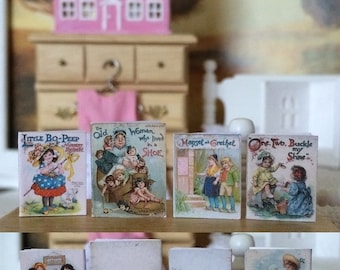 4 VINTAGE CHILDRENS BOOKS - Father Tuck's Series Early 1900's  - Dollhouse Miniature 1:12 Scale
