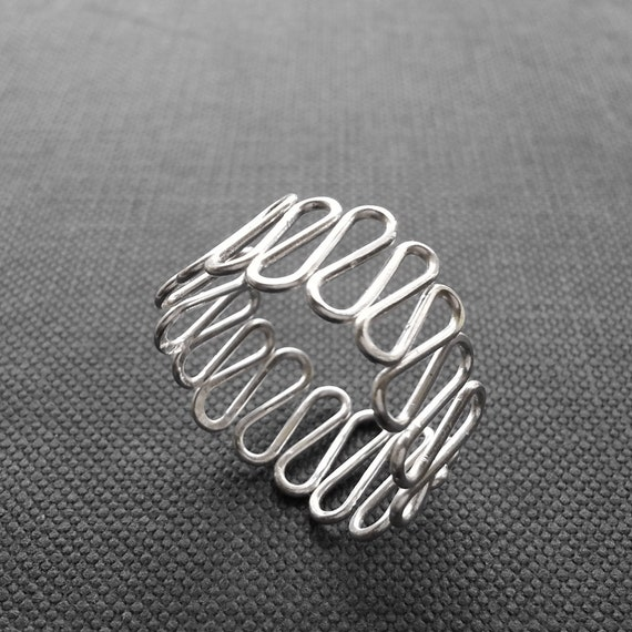 simple silver wavy band ring thumb ring gift for by