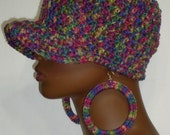Crochet Baseball Style  Snug Cap with Earrings Purple Pink Yellow Green Blue