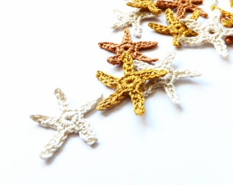 Crochet sea stars applique - golden starfish applique - Beach wedding decoration - sand color deocrations - beach party decor - set of 15