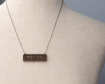 GRACE Braille Necklace : Modern / Minimalist / Message / Virtue