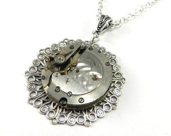Steampunk Necklace - Vintage Pocket Watch Movement Pendant - One Jewel - Silver by Compass Rose Design