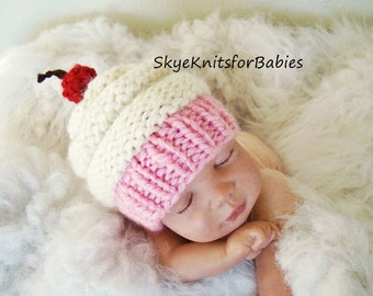 Knit Baby Cupcake Hat, Newborn Cupcake Hat, Preemie -24 Months, Photography Prop